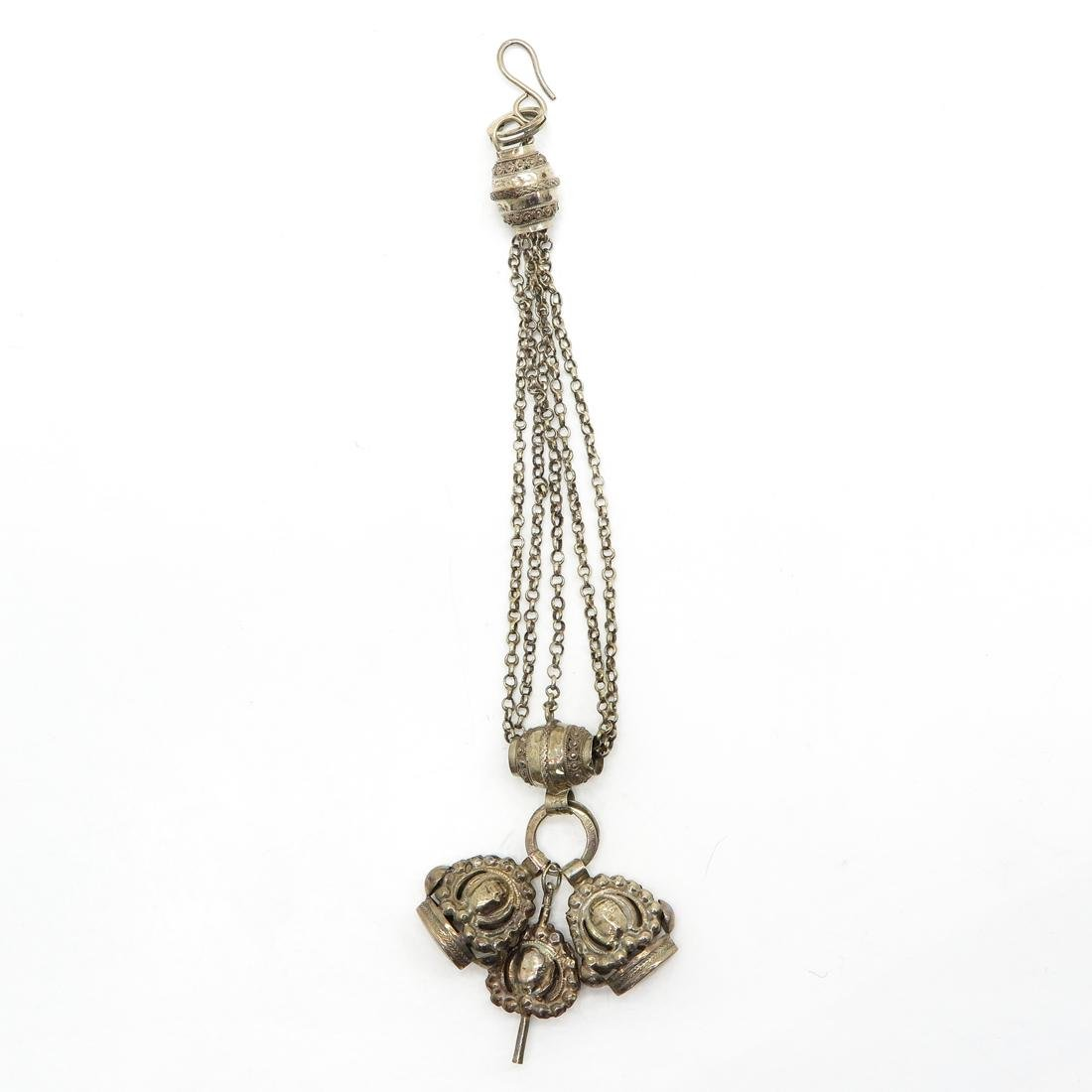 19th Century Dutch Silver Watch Chain with Key and Fobs