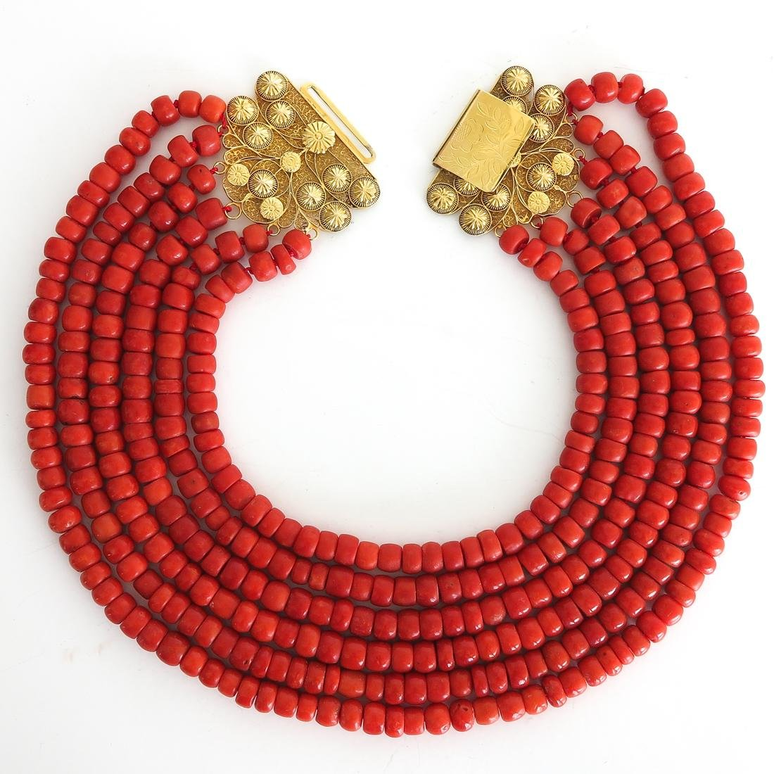 19th Century 6 Strand Red Coral Necklace 460 gram