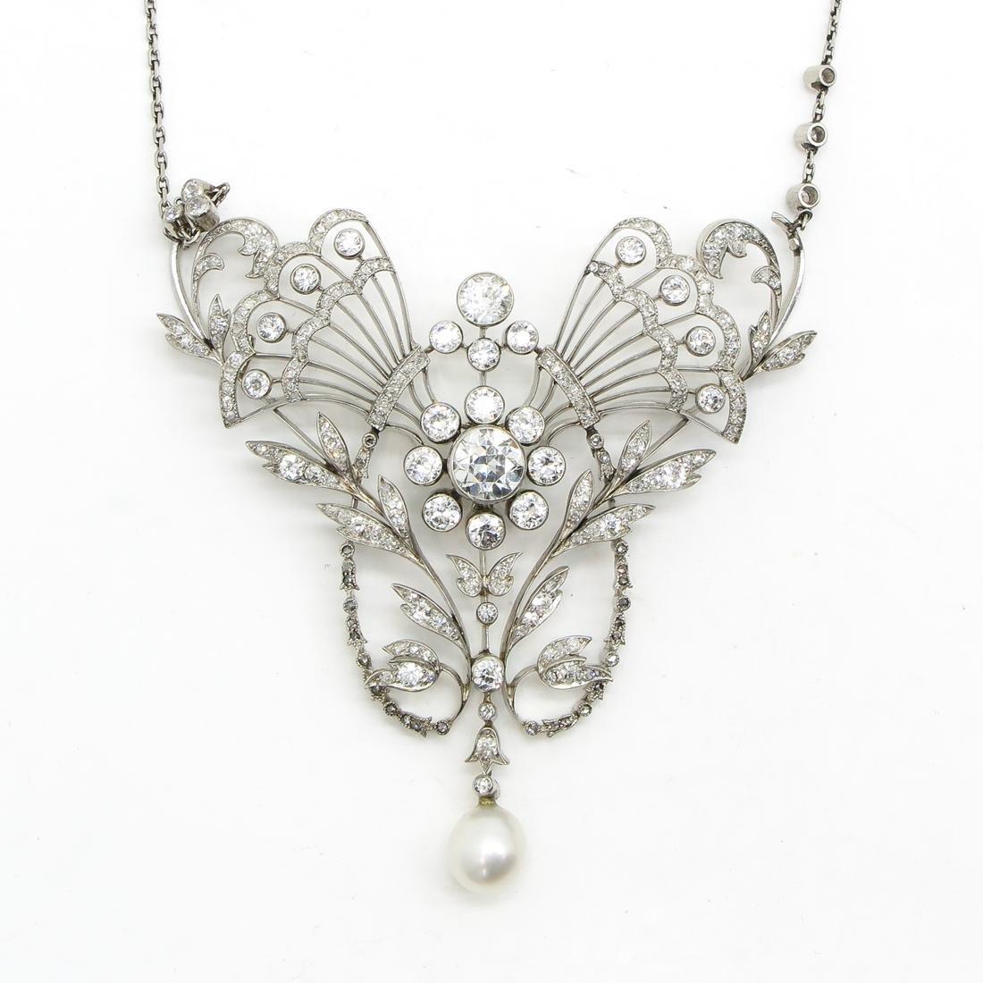 18KWG Art Nouveau Period Diamond Necklace