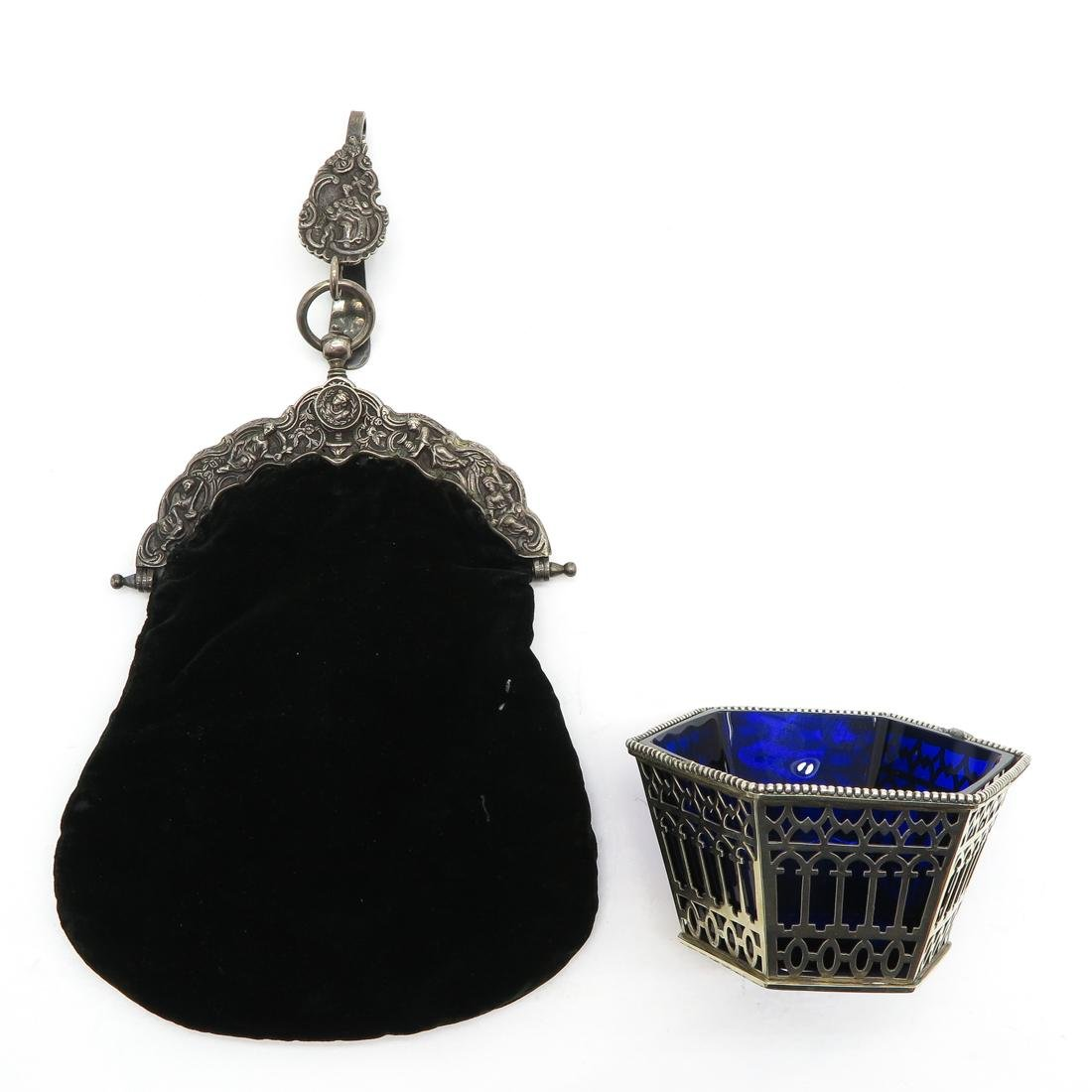 Silver Purse and Cobalt and Silver Bowl