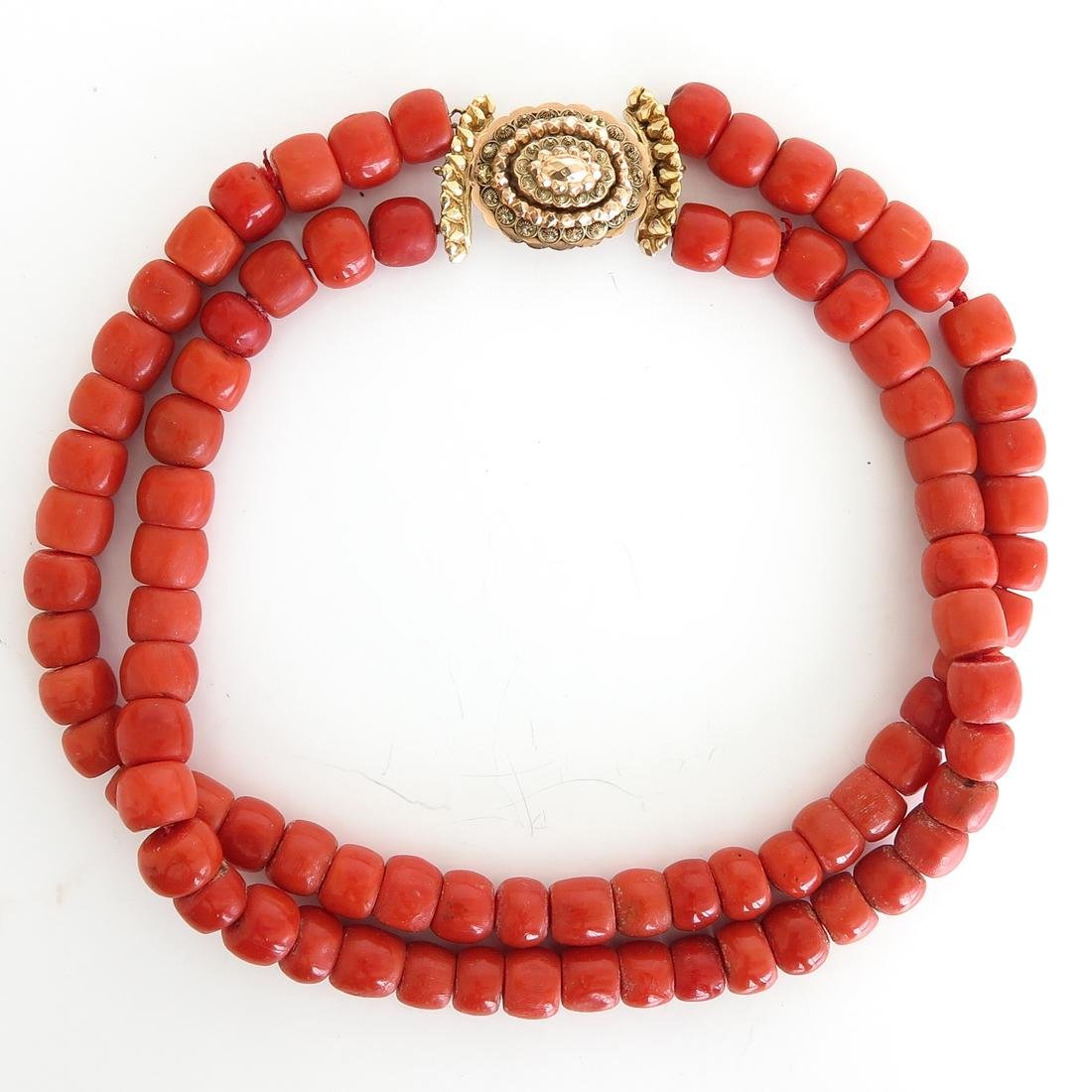 19th Century 2 Strand Red Coral Necklace