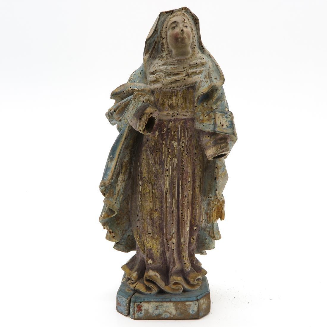 Carved Polychrome Wood Statue of Saint Circa 1800