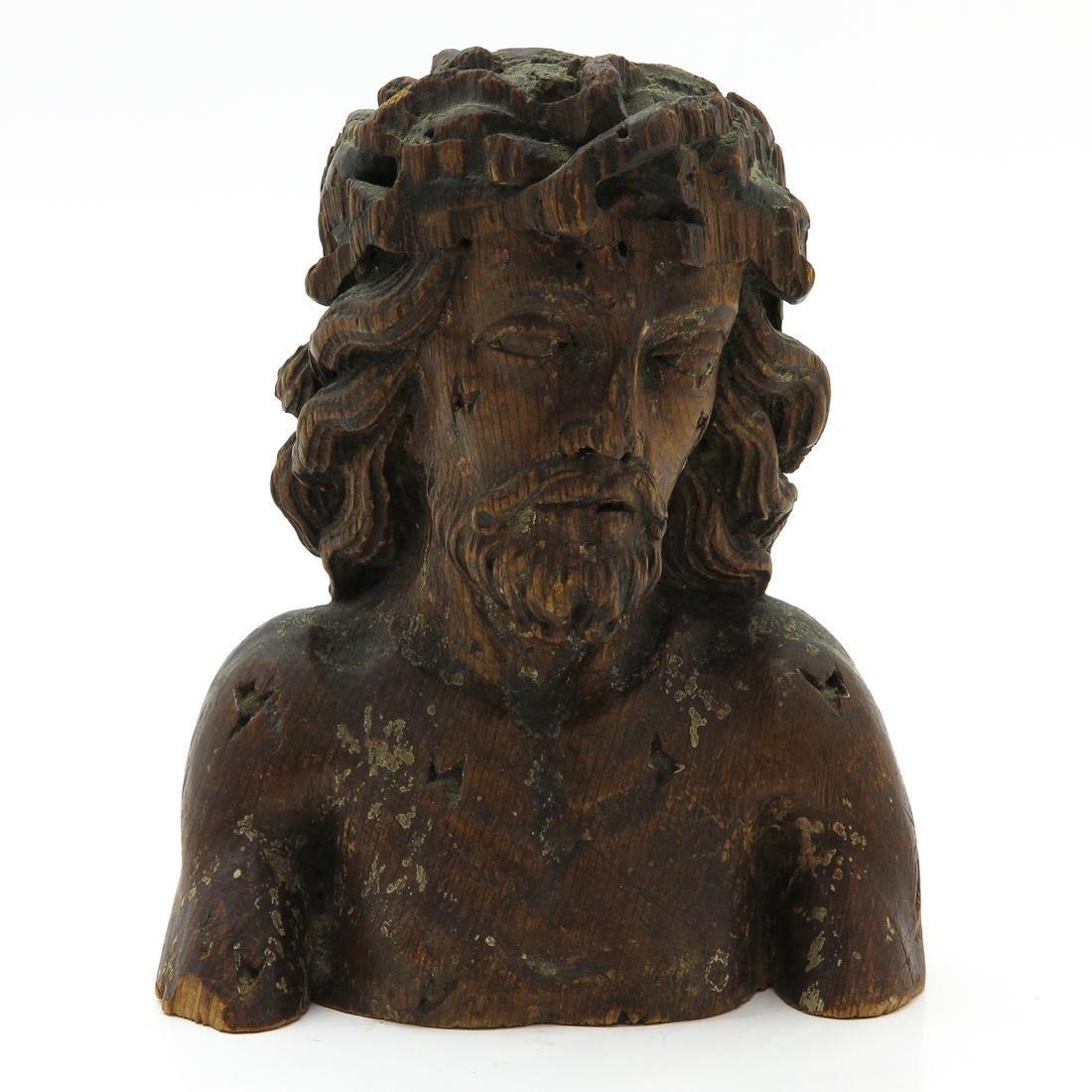 Wood Sculpture Depicting Bust of Christ Circa 1800