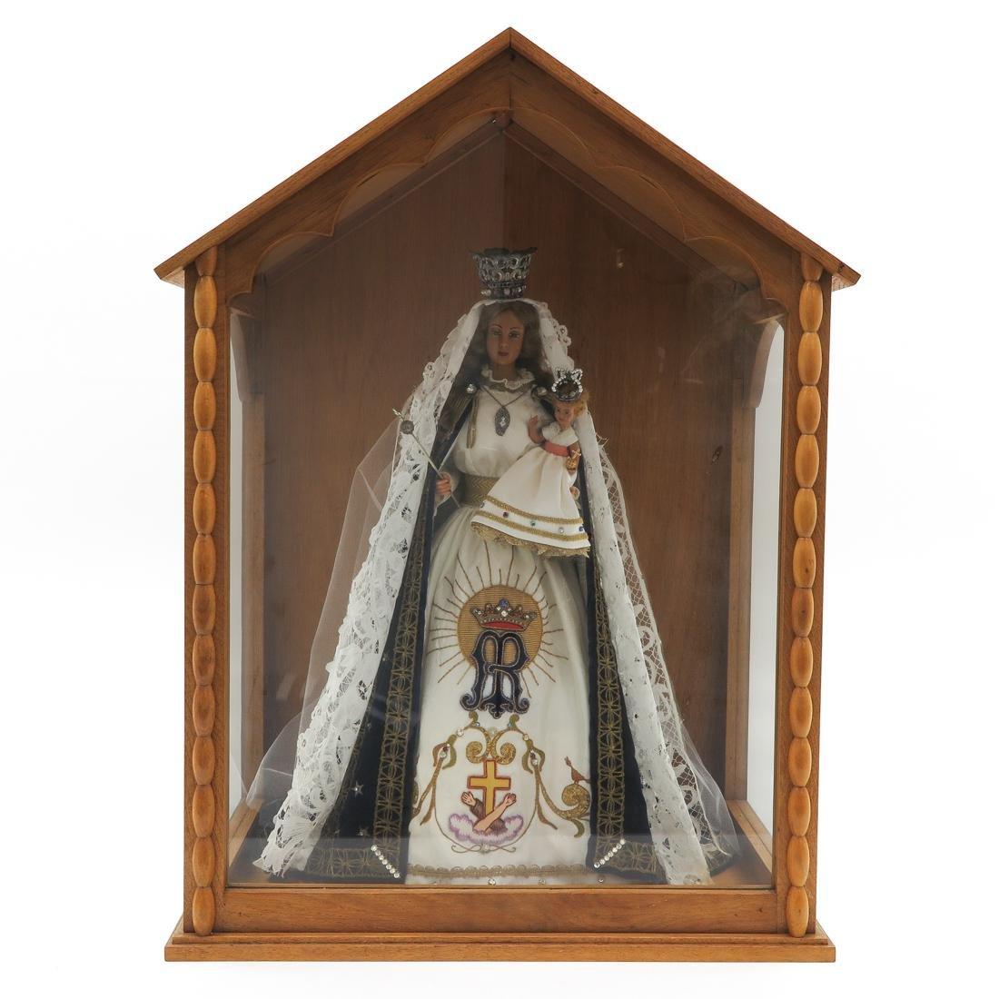 Wax Madonna & Child in Vitrine