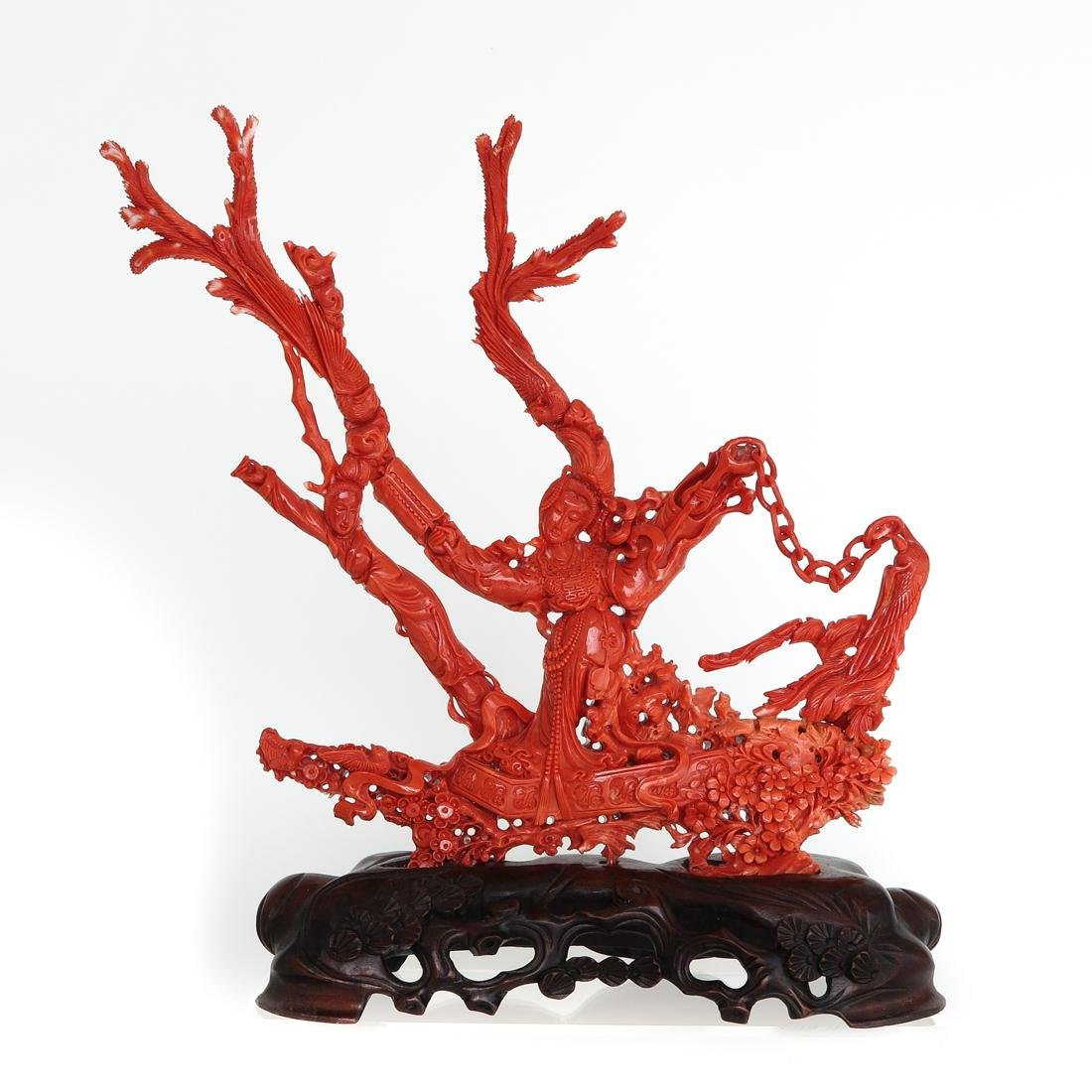 Carved Red Coral Sculpture