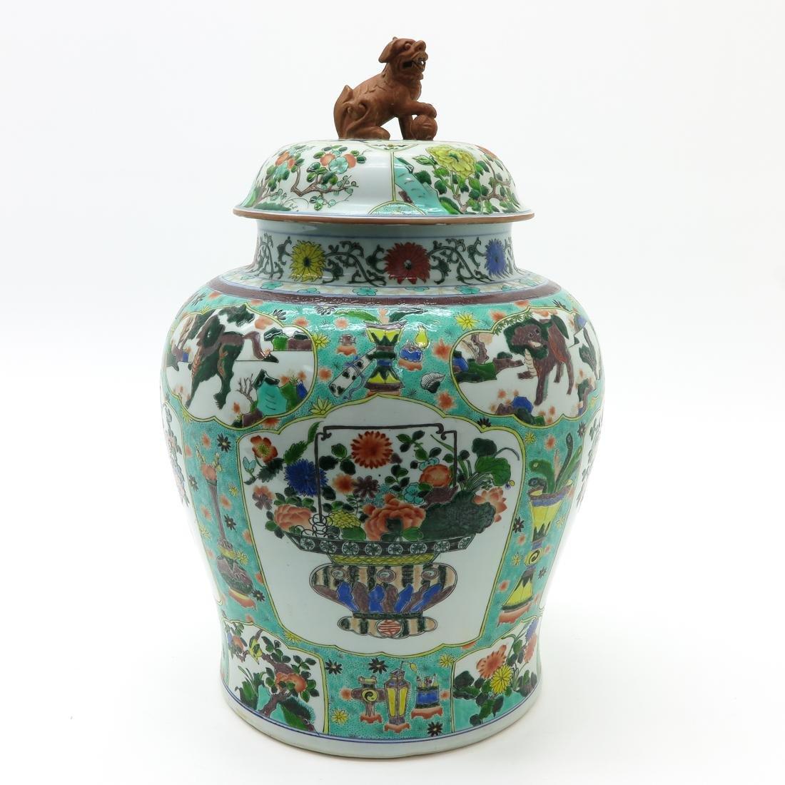 Large Famille Verte Decor Lidded Vase