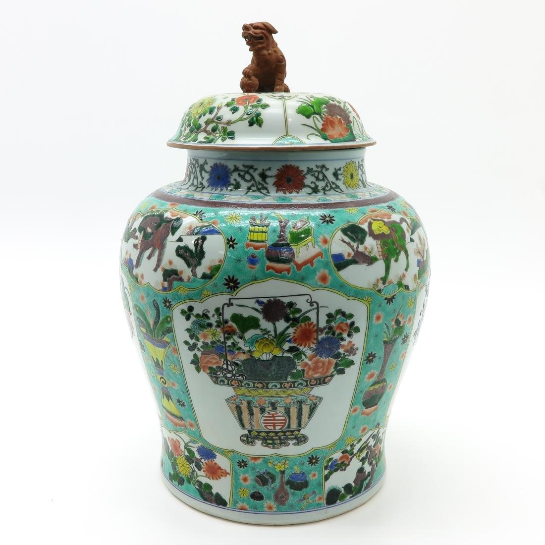 Large Famille Verte Decor Lidded Vase - 2