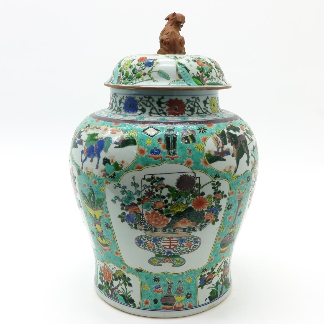 Large Famille Verte Decor Lidded Vase - 4