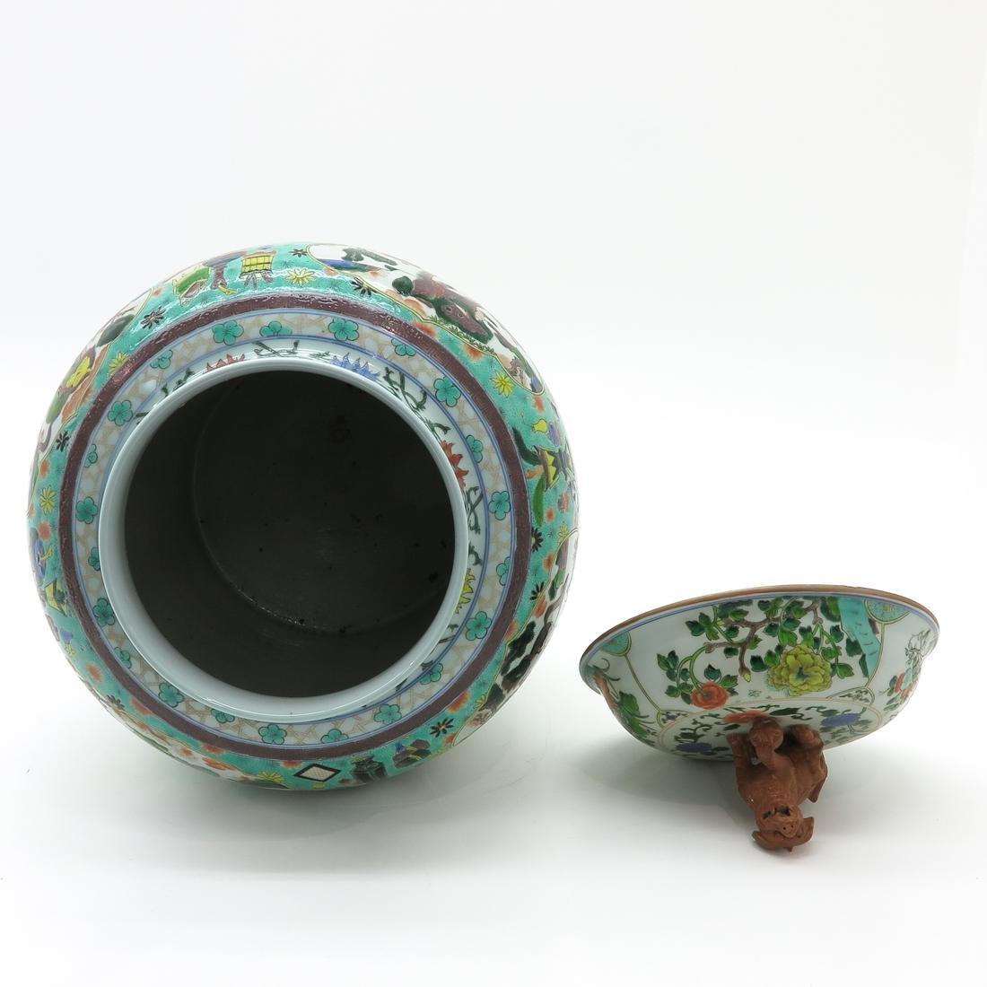 Large Famille Verte Decor Lidded Vase - 5