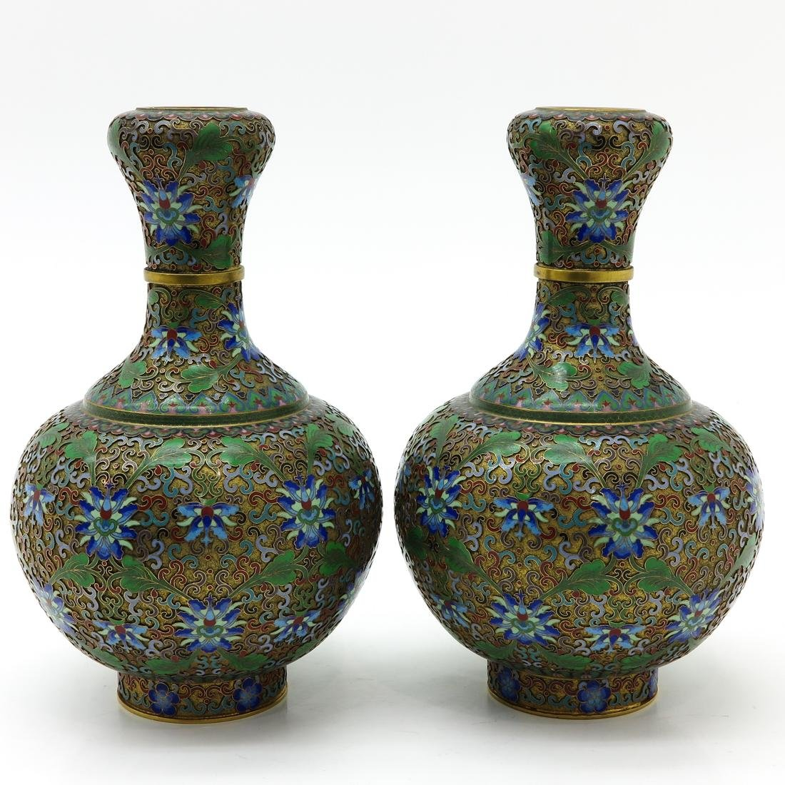 Pair of Cloisonne Vases - 2
