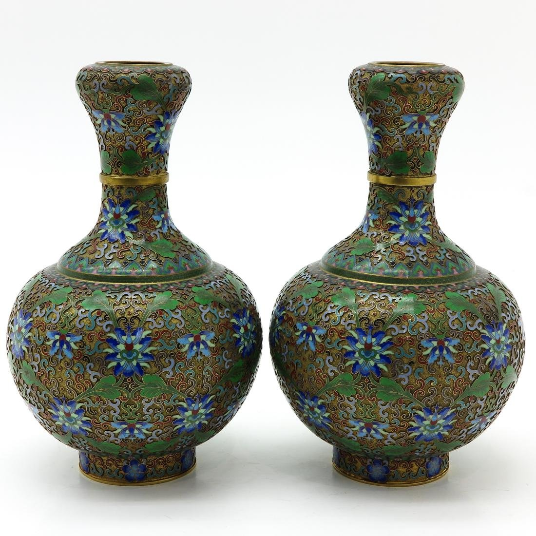 Pair of Cloisonne Vases - 3