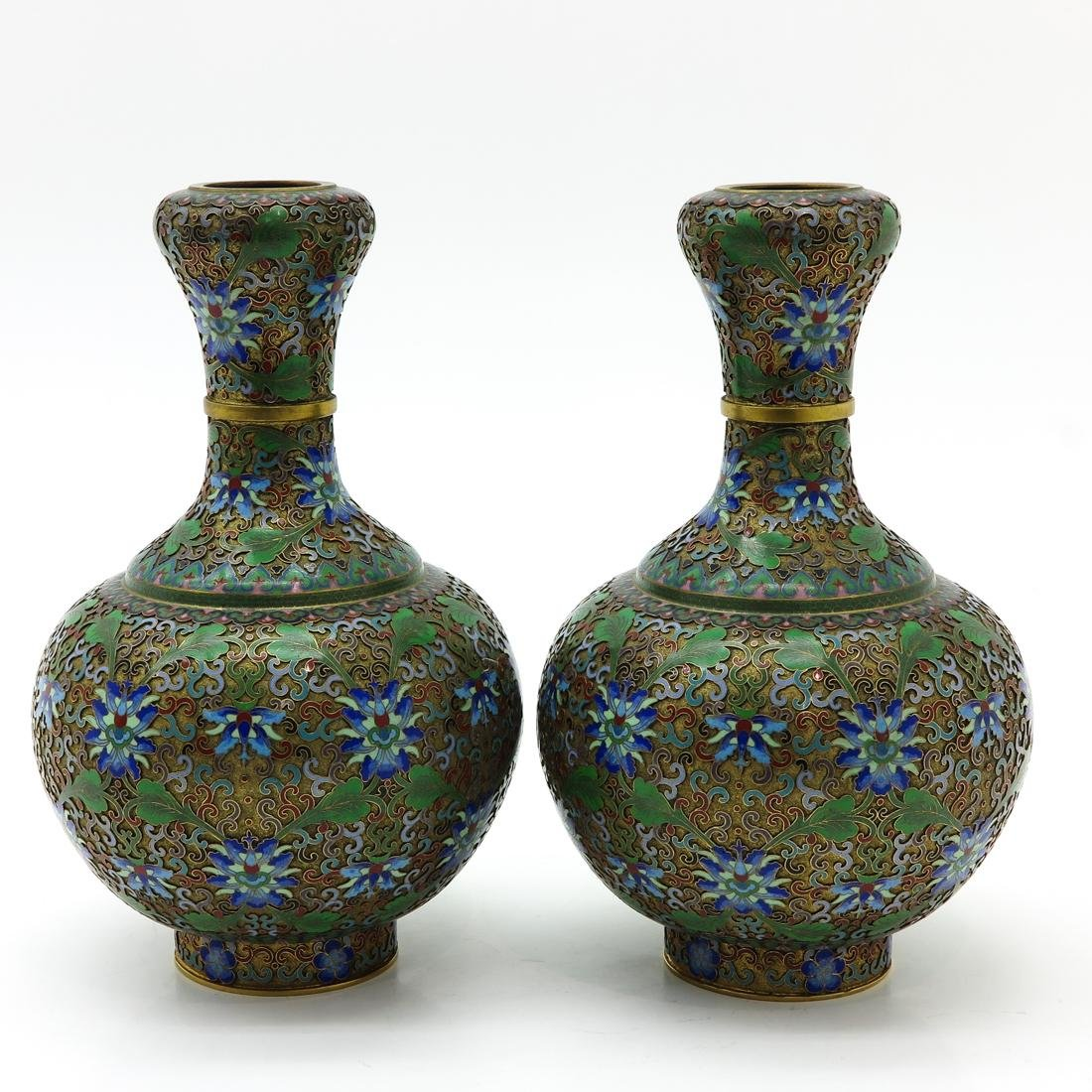 Pair of Cloisonne Vases - 4