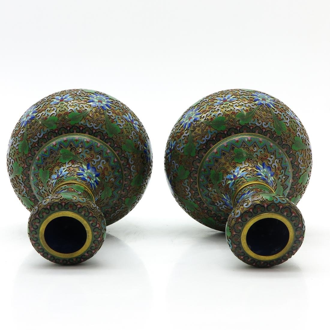 Pair of Cloisonne Vases - 5