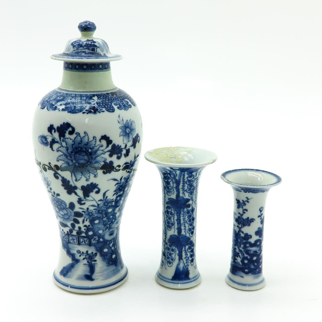 Lot of 3 Blue and White Vases