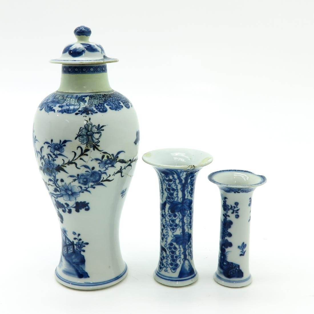 Lot of 3 Blue and White Vases - 3