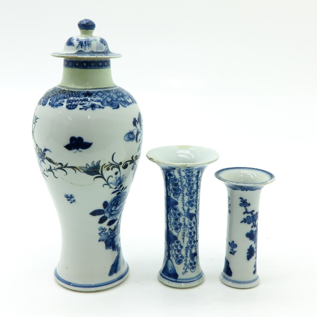 Lot of 3 Blue and White Vases - 4