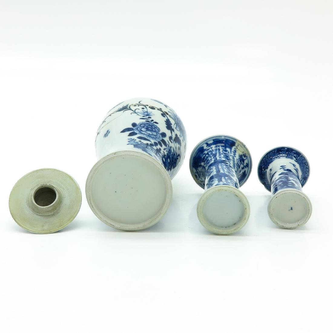 Lot of 3 Blue and White Vases - 6