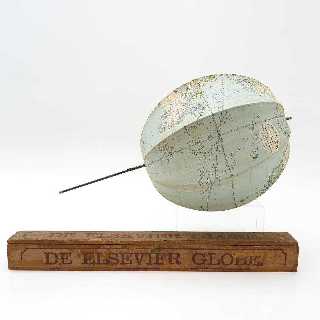 Elsevier Collapsible Globe with Wood Box Circa 1881