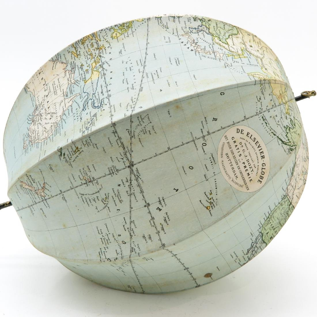 Elsevier Collapsible Globe with Wood Box Circa 1881 - 2