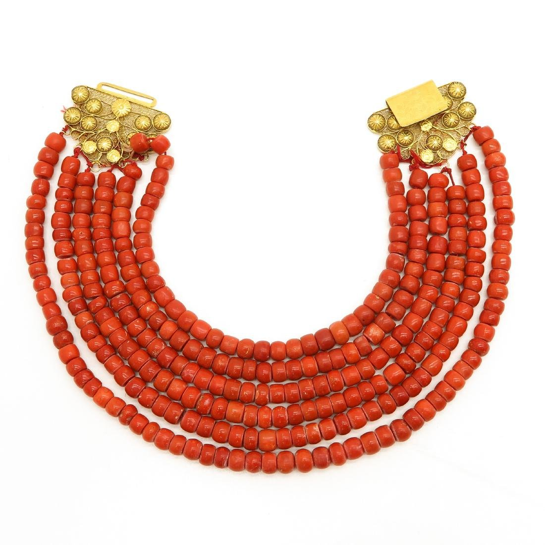 A 6 Strand 19th Century Red Coral Necklace & 14KG Clasp