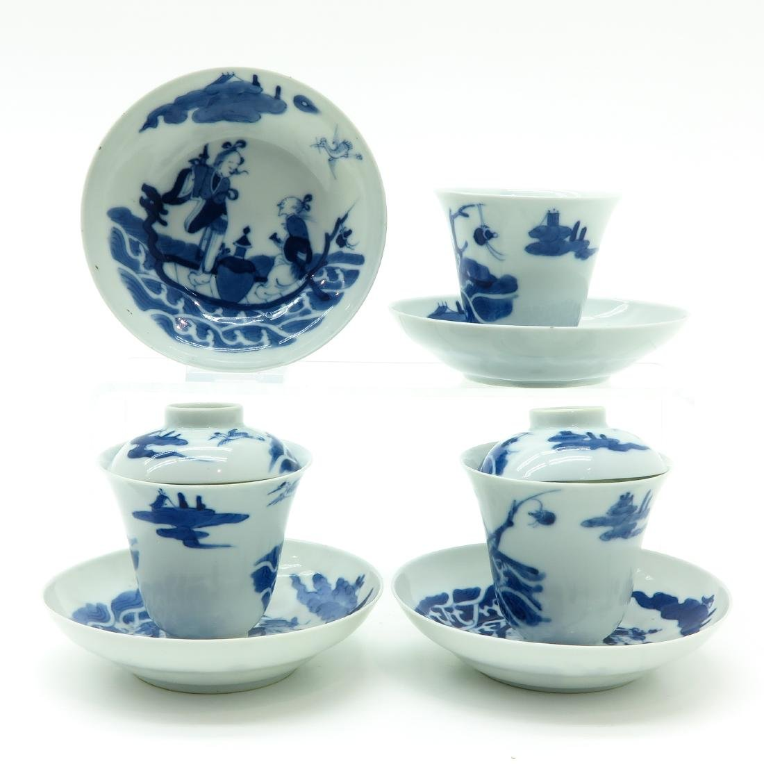 A Lot of Blue and White Covered Cups and Saucers - 2