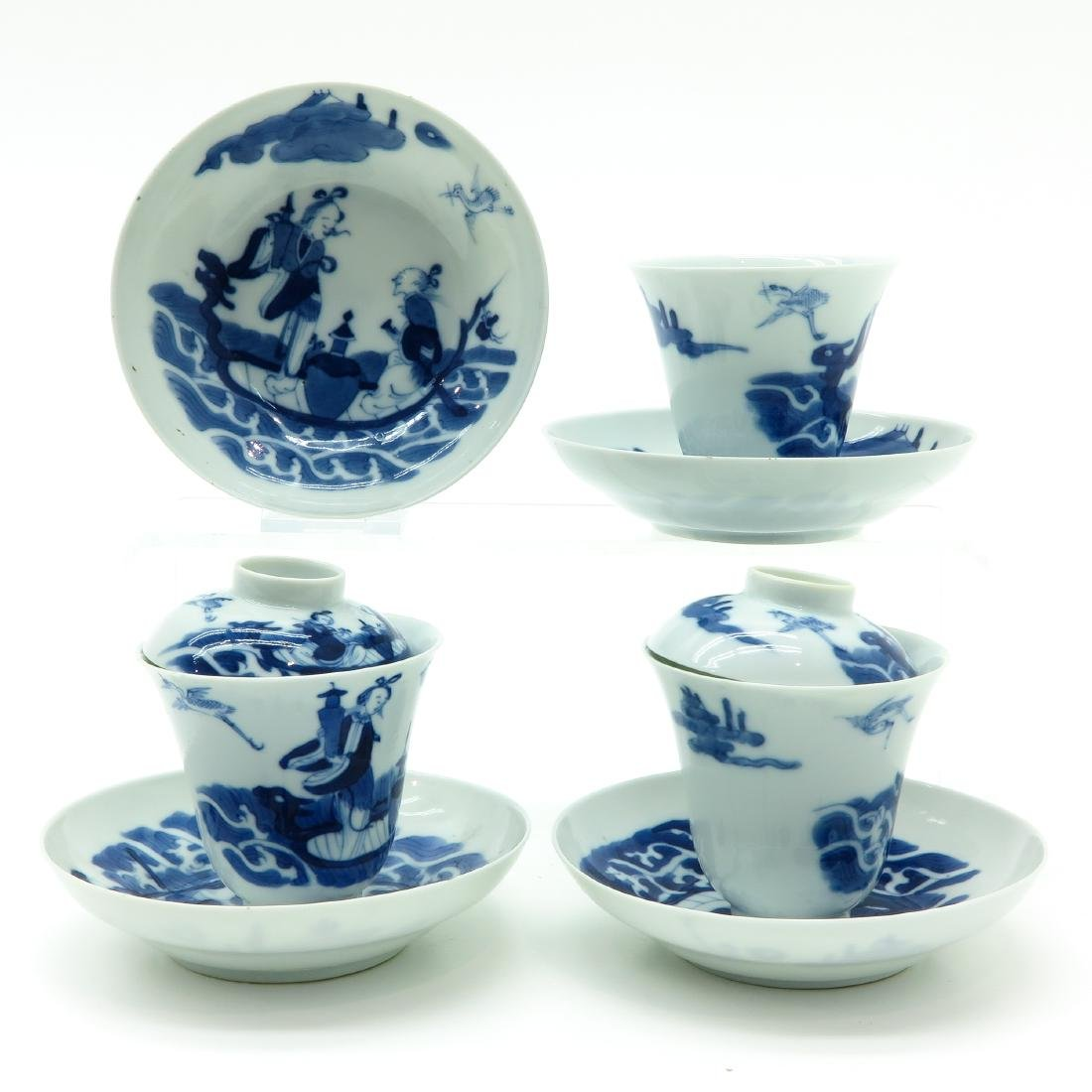 A Lot of Blue and White Covered Cups and Saucers - 3