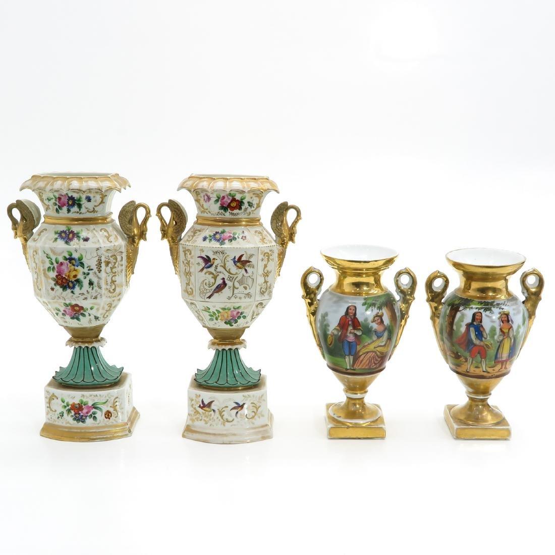 Two Pair of 19th Century European Porcelain Urns