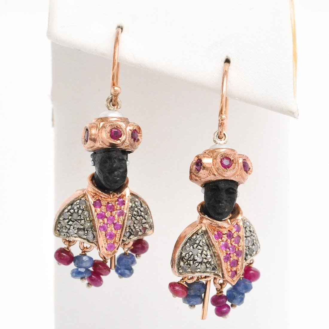 A Pair of 14KG Blackamoor Decor Earrings