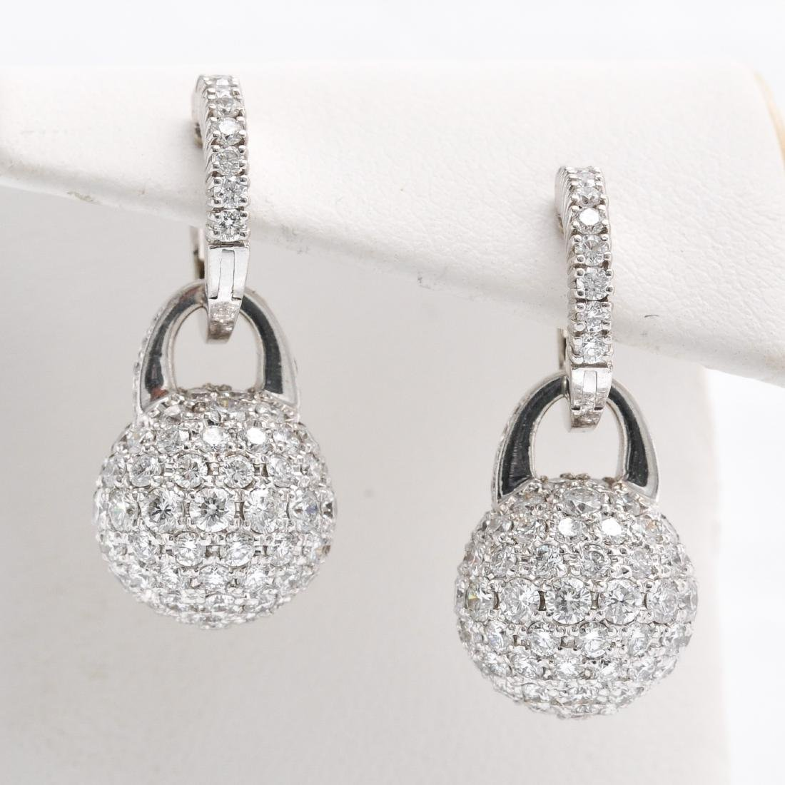 A Pair of 18KWG Pave Diamond Earring Approx. 4.28 CTW