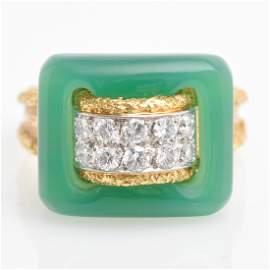 A Van Cleef & Arpels Diamond Chalcedony 18KG Ring