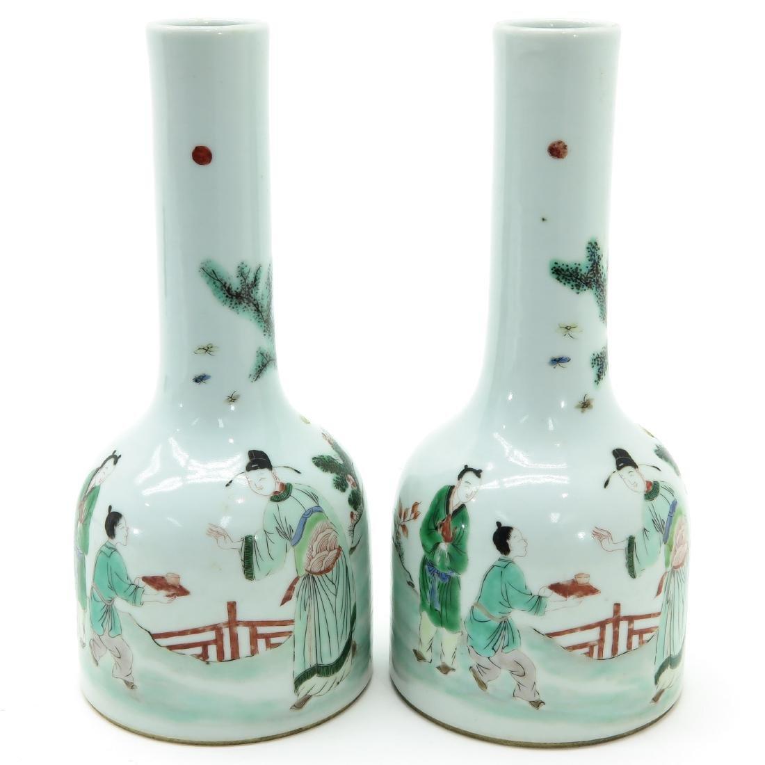 A Pair of Famille Verte Decor Vases