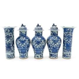 A Blue and White Decor Five Piece Garniture Set