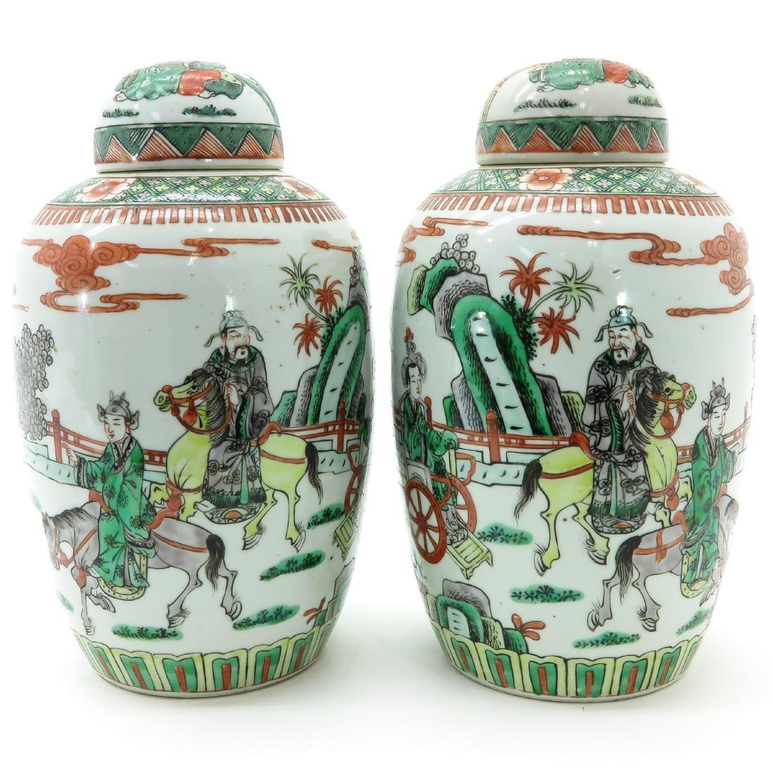 A Pair of Famille Verte Decor Ginger Jars