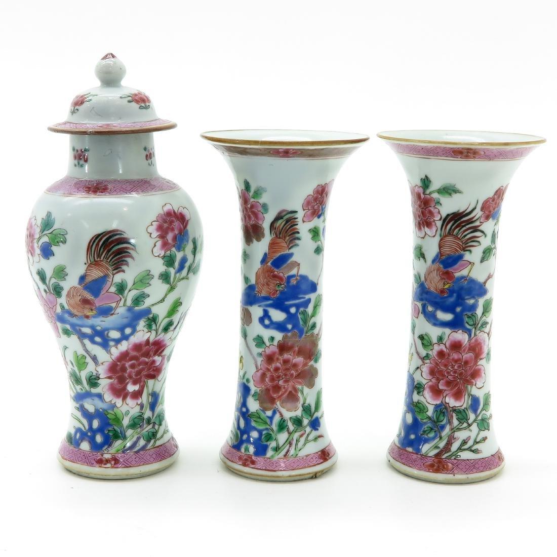 A Famille Rose Decor Three Piece Garniture Set