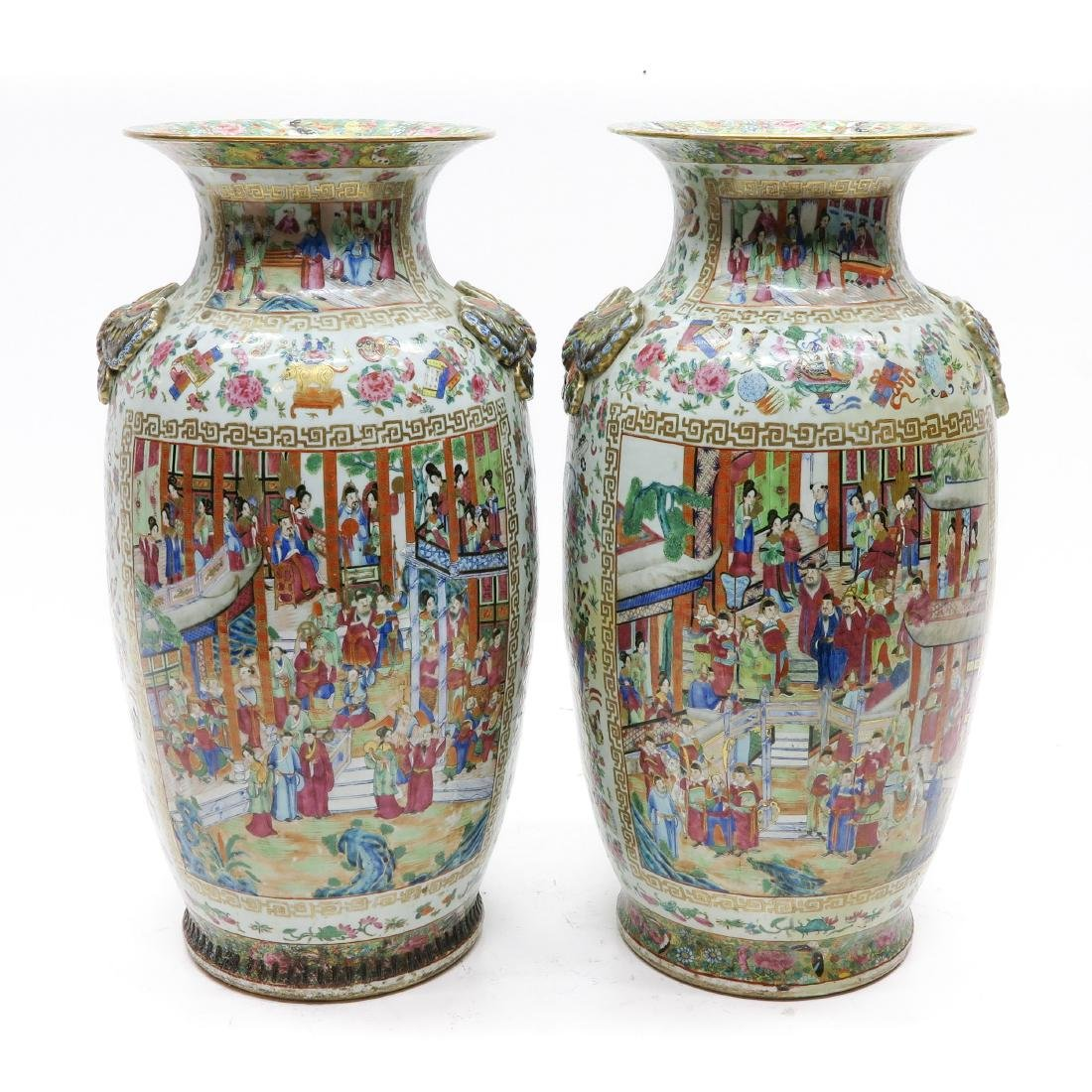 A Large Pair of Cantonese Vases
