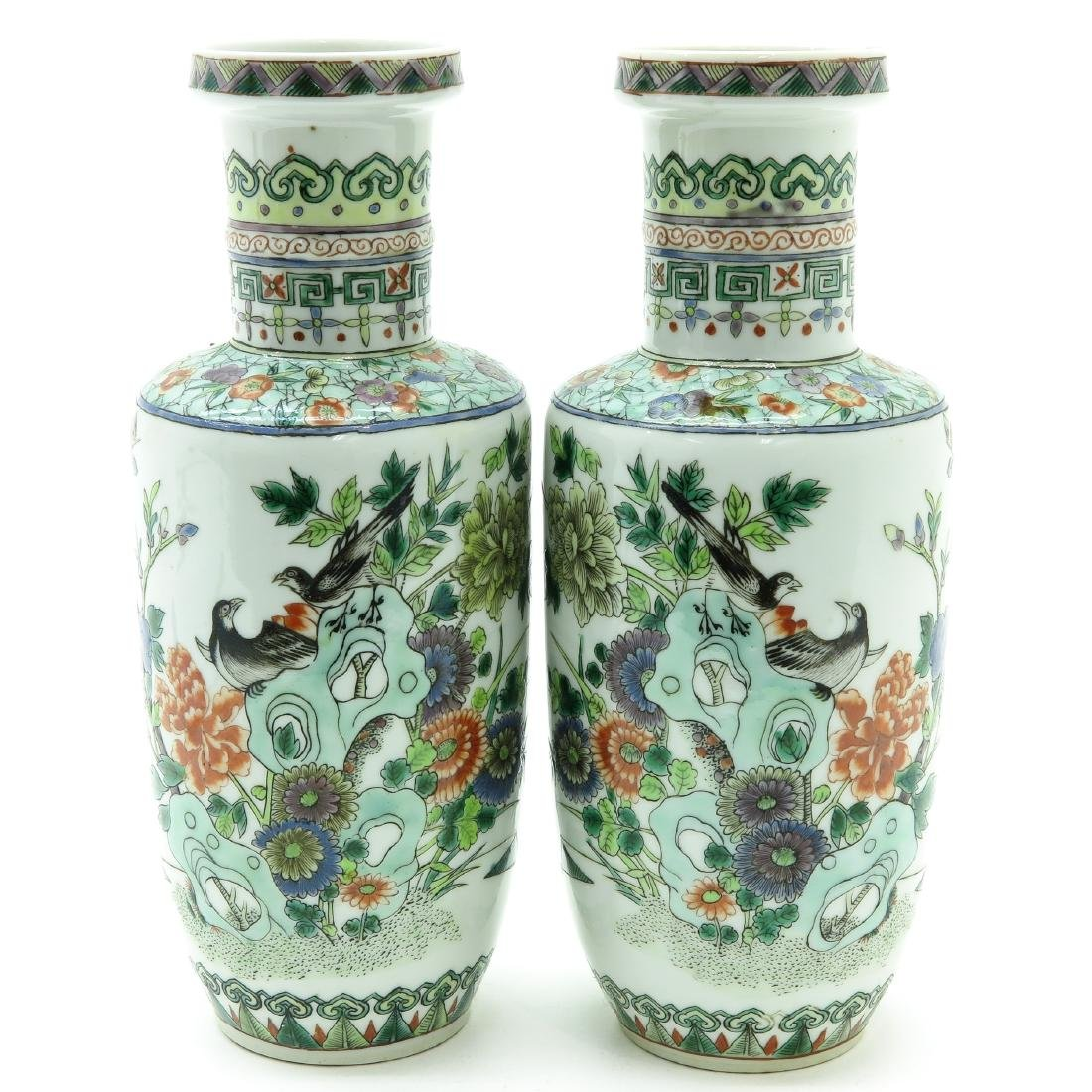 A Pair of Famille Verte Decor Rouleau Vases