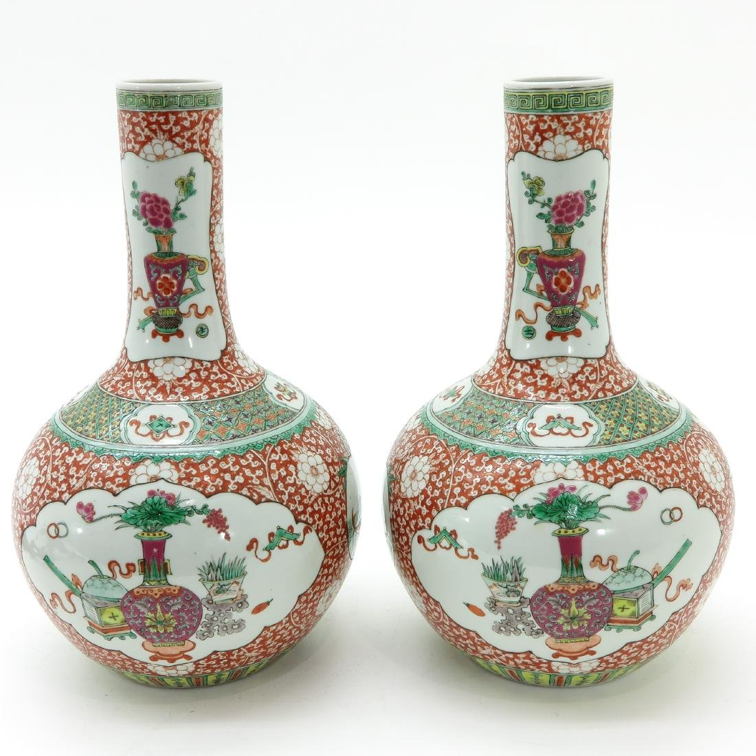 A Pair of Famille Verte Decor Bottle Vases