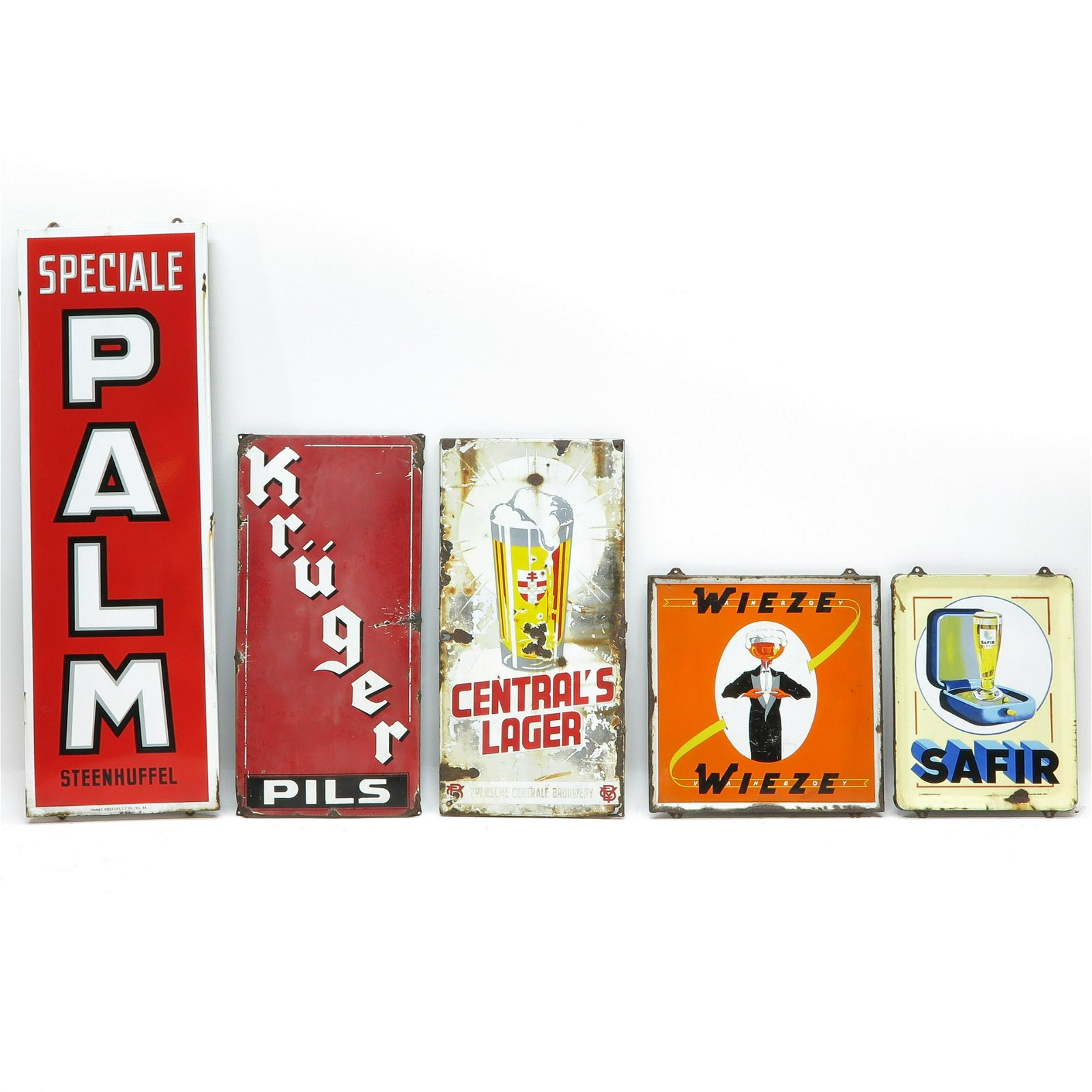 A Collection of Five Vintage Advertising Signs