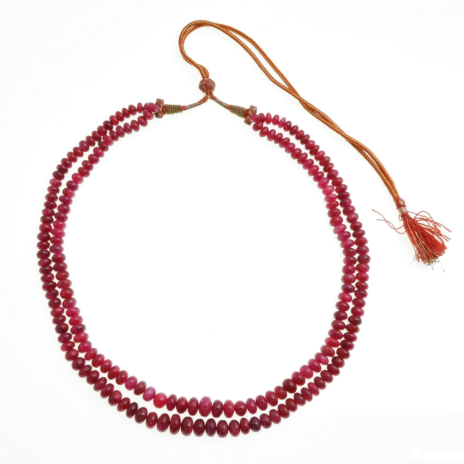 An Two Strand Indian Natural Ruby Necklace