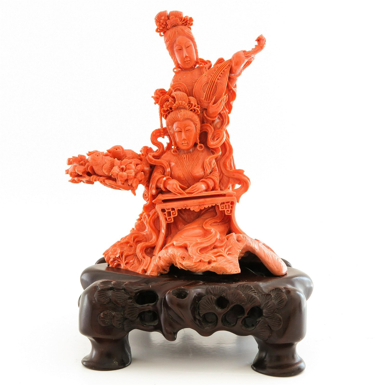 A Carved Red Coral Sculpture