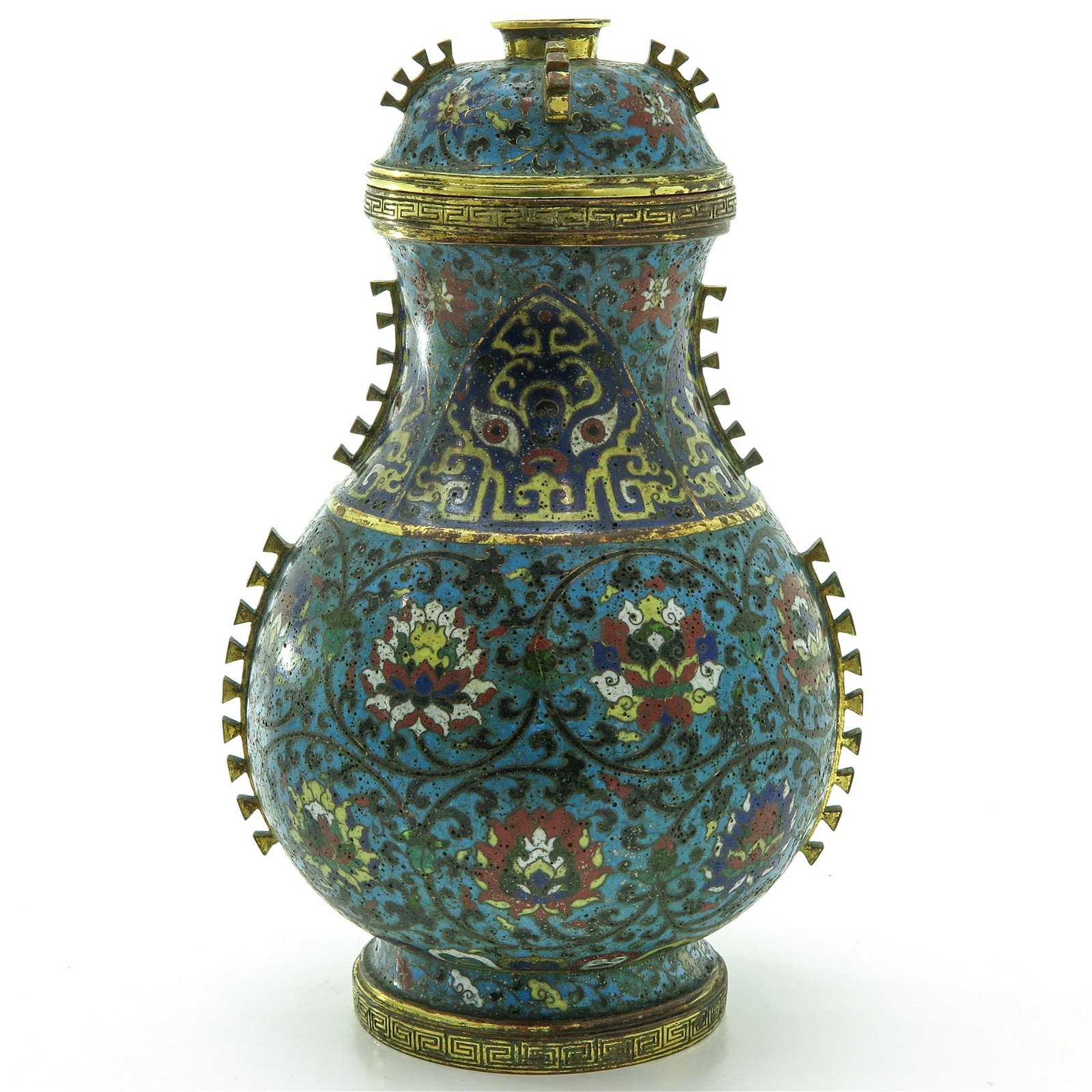 A Cloisonne Gilt Bronze Vase with Cover
