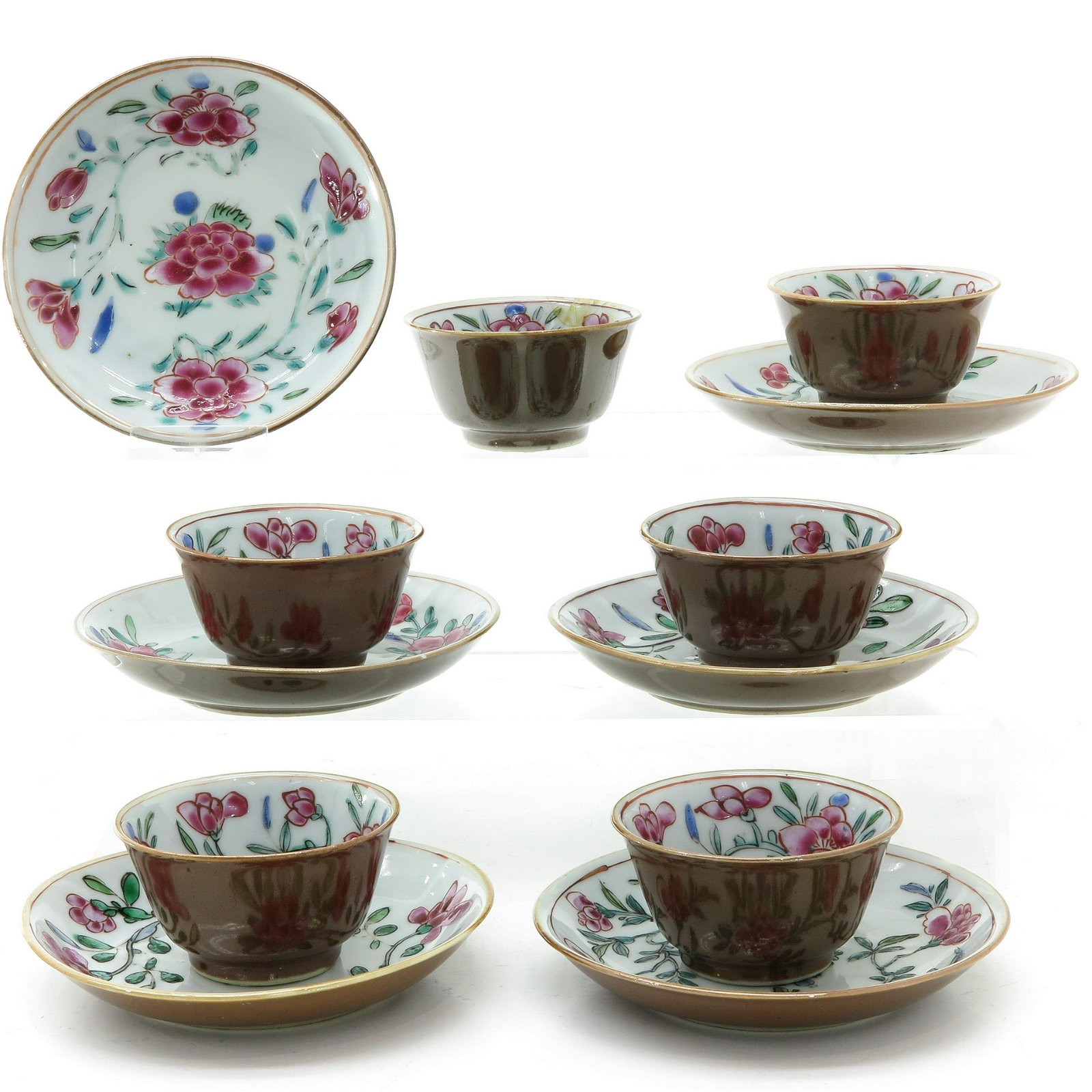 Six Cappuccino and Famille Rose Cups and Saucers