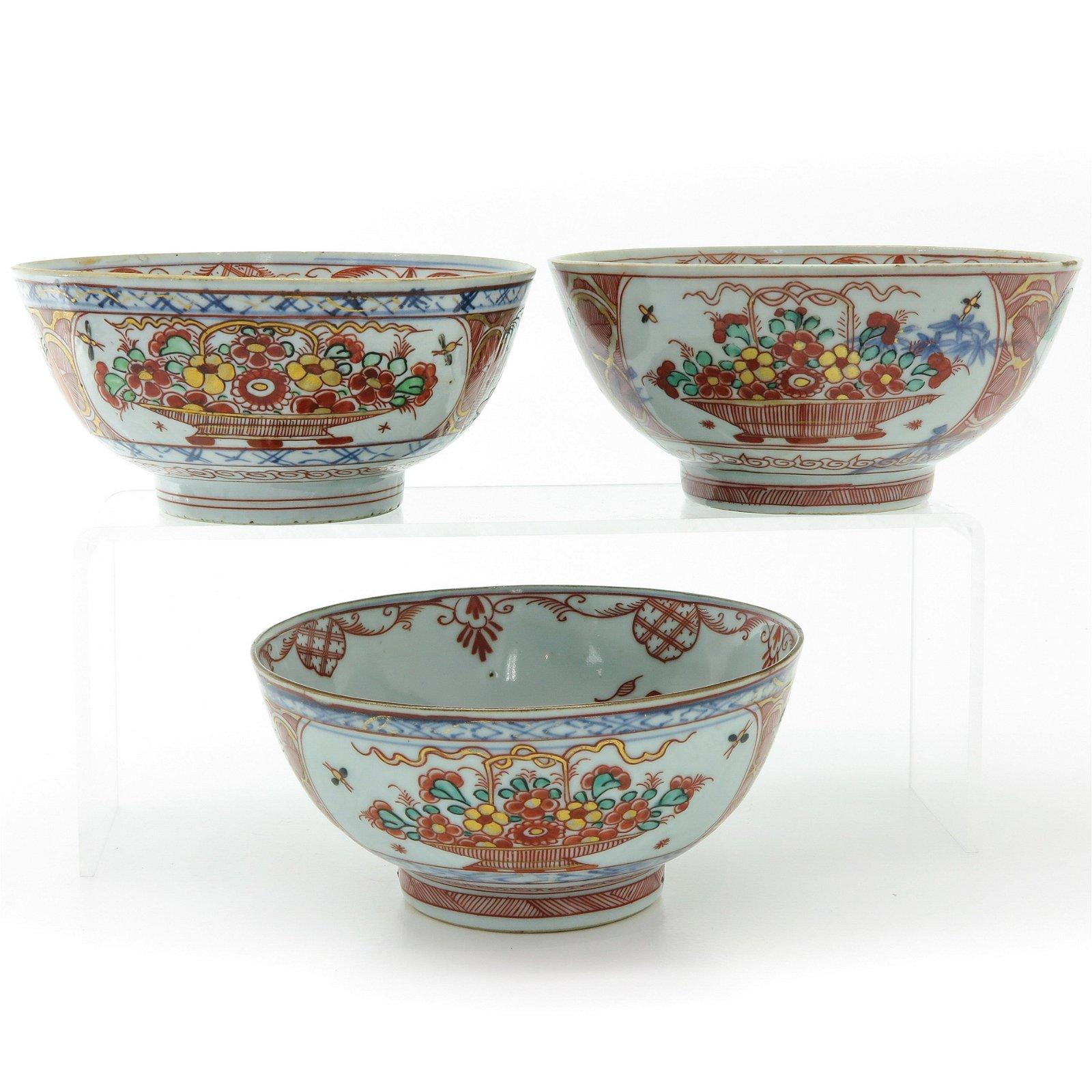 A Series of Three Polychrome Decor Bowls