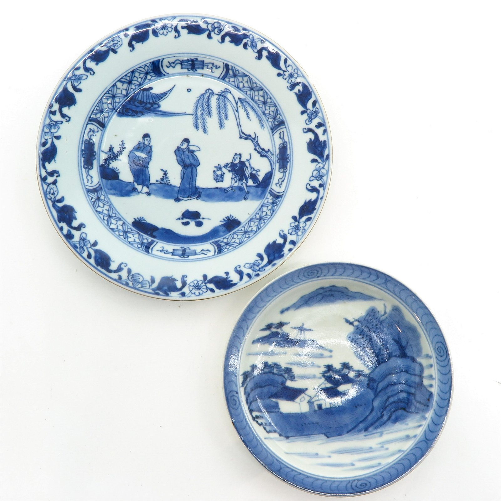 Two Blue and White Decor Plates
