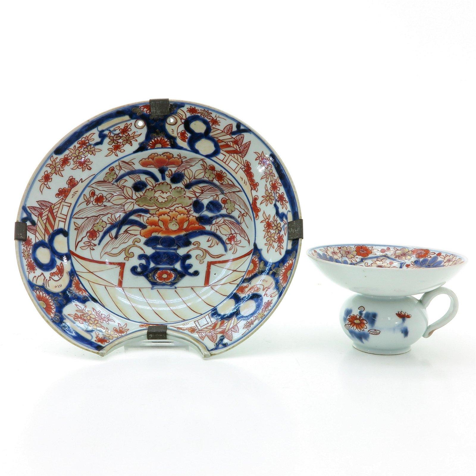 An Imari Shaving Bowl and Spitoon