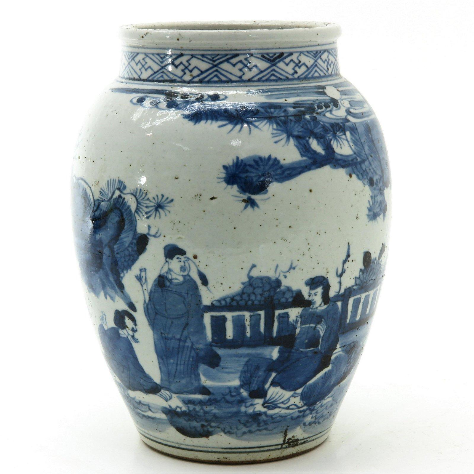 A Blue and White Stoneware Vase