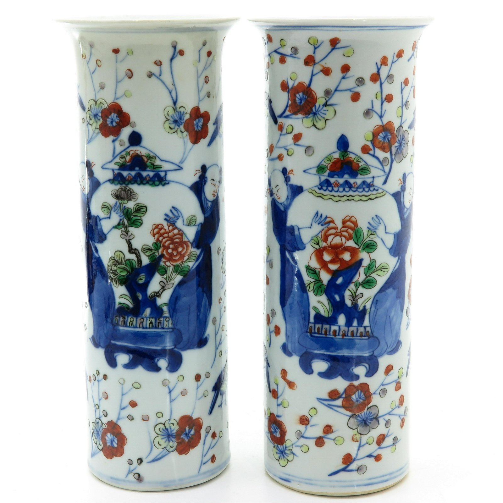 A Pair of Polychrome Decor Vases