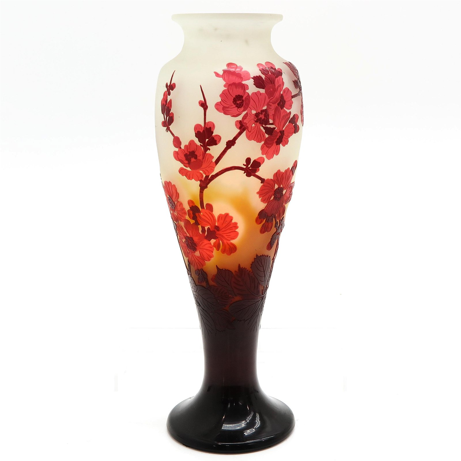 A Signed Galle Cameo Glass Vase with Original Invoice