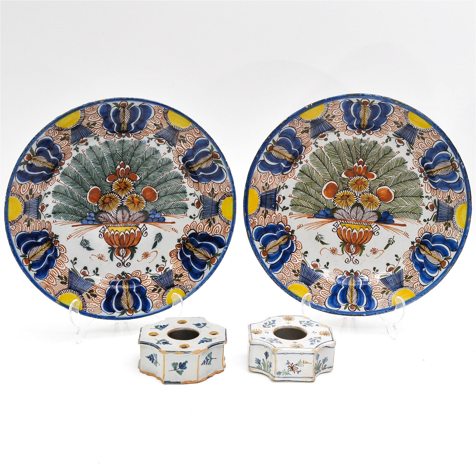 Two 18th Century Delft Plates and Ink Wells