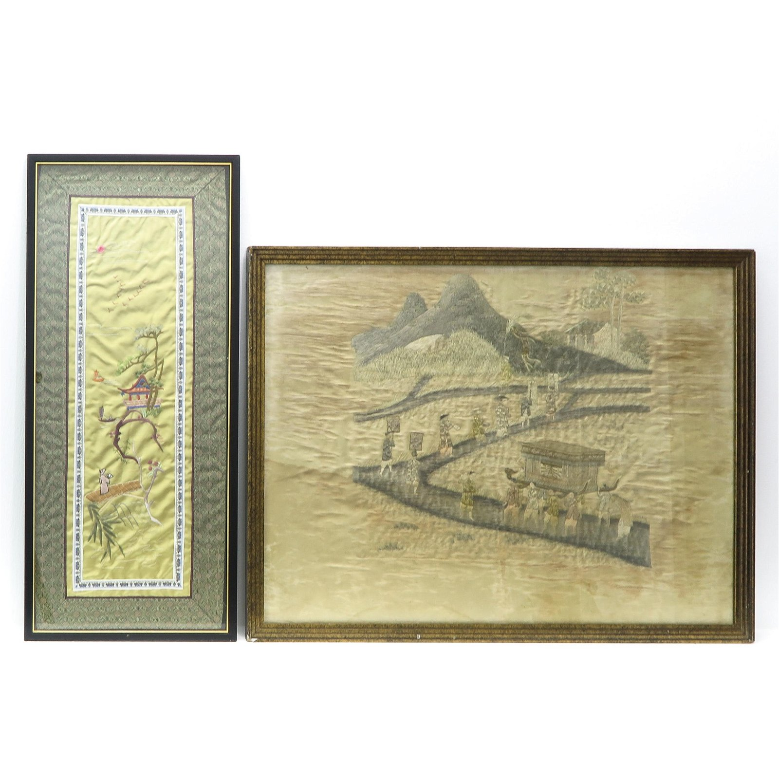 Two Framed Silk Embroidered Textiles